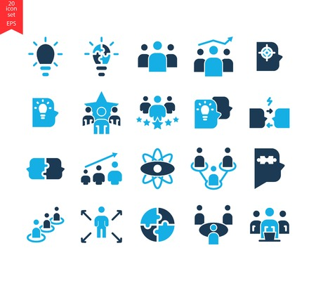 Vector set of 20 quality icons related to team work, career progress and business process. Mono line and design elements.