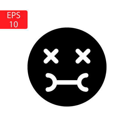 Emotiin icon, face pain, in black and white Illustration.