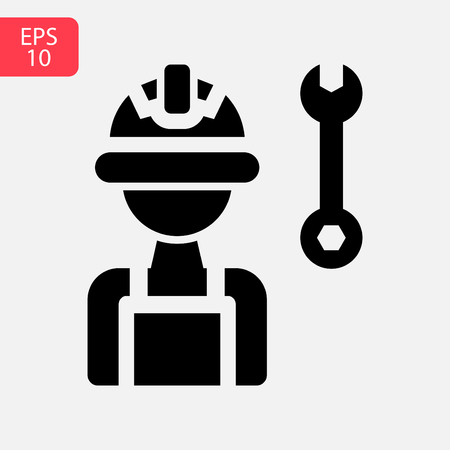 Service tools flat vector icon. Cogwheel with wrench symbol logo illustration. Business concept Stock Illustratie