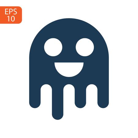 ghost icon cartoon character, cute halloween logo or symbol, vector illustration Stock Illustratie