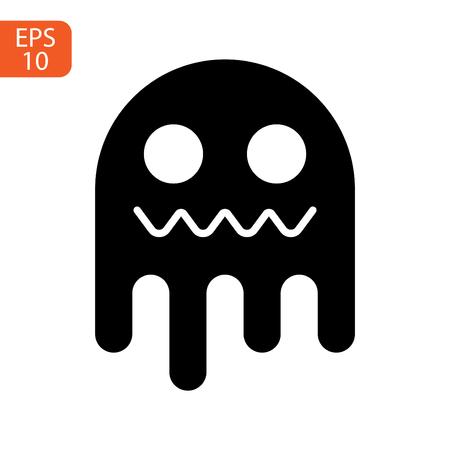 ghost icon cartoon character, cute halloween logo or symbol, vector illustration Ilustração