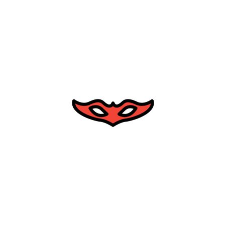 Carnival mask filled line icon, thin line vector sign, linear style pictogram isolated on white. Masquerade symbol, logo illustration. Editable stroke on white background