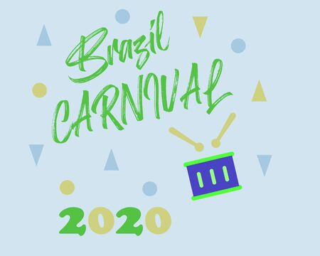 Popular Event in Brazil. Festive Mood. Carnival Title With Colorful Party Elements Saying Come to Carnival. Travel destination. Brazilian , Dance and Music on green background