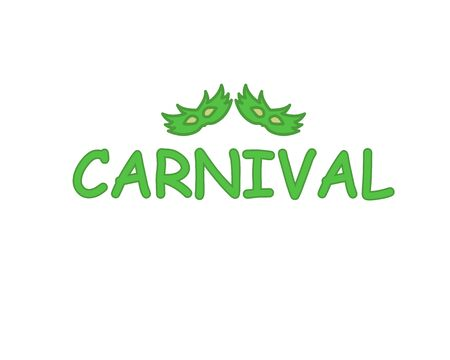Popular Event in Brazil. Festive Mood. Carnival Title With Colorful Party Elements Saying Come to Carnival. Travel destination. Brazilian , Dance and Music on white background