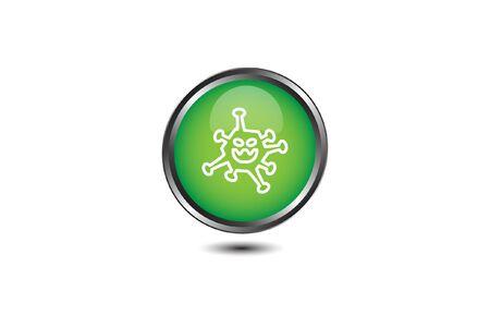 icon flat Corona Virus Sign Icon. Pneumonia. COVID-19 NCOV-2019 Corona Virus Abbreviation. Bacteria Scheme. Vector Illustration graphic design on white background good for information