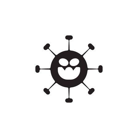 icon glyph Corona Virus Sign Icon. Pneumonia. COVID-19 NCOV-2019 Corona Virus Abbreviation. Bacteria Scheme. Vector Illustration graphic design on white background good for information