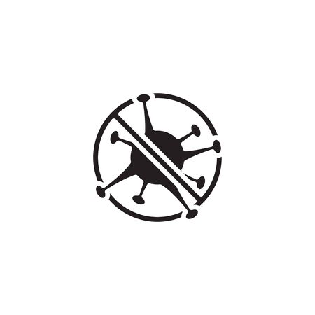 icon banned Corona Virus Sign Icon. Pneumonia. COVID-19 NCOV-2019 Corona Virus Abbreviation. Bacteria Scheme. Vector Illustration graphic design on white background good for information