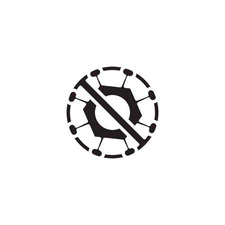 icon banned from Corona Virus Sign Icon. Pneumonia. COVID-19 NCOV-2019 Corona Virus Abbreviation. Bacteria Scheme. Vector Illustration graphic design on white background good for information