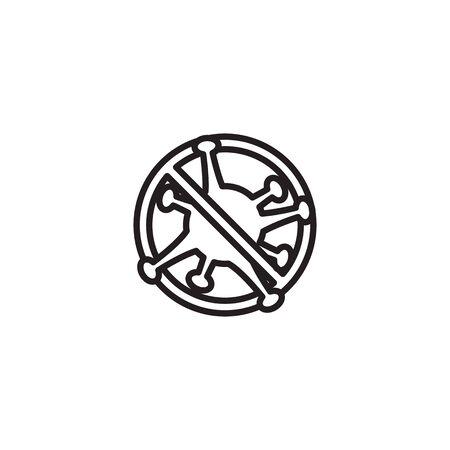 icon thin line banned Corona Virus Sign Icon. Pneumonia. COVID-19 NCOV-2019 Corona Virus Abbreviation. Bacteria Scheme. Vector Illustration graphic design on white background good for information Ilustracja
