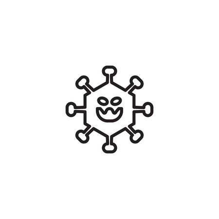icon thin line Corona Virus Sign Icon. Pneumonia. COVID-19 NCOV-2019 Corona Virus Abbreviation. Bacteria Scheme. Vector Illustration graphic design on white background good for information Ilustracja