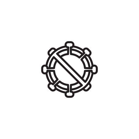 icon thin banned Corona Virus Sign Icon. Pneumonia. COVID-19 NCOV-2019 Corona Virus Abbreviation. Bacteria Scheme. Vector Illustration graphic design on white background good for information Ilustracja