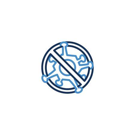 Icon forbidden virus thin line blue color ,Corona Virus. 2019-nCoV. Corona virus,Global Spread, and Concept of Icon of Stopping Corona Virus ,vector illustrator