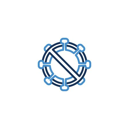 Icon forbidden virus thin line blue color ,Corona Virus. 2019-nCoV. Corona Virus, Global Spread, and Concept of Icon of Stopping Corona Virus ,vector illustrator Zdjęcie Seryjne - 142987019