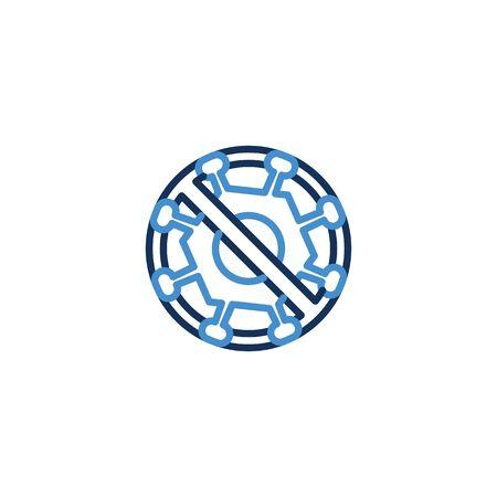 Icon forbidden virus thin line blue color ,Corona Virus. 2019-nCoV. Corona Virus, Global Spread, and Concept of Icon of Stopping Corona Virus ,vector illustrator Zdjęcie Seryjne - 142987039