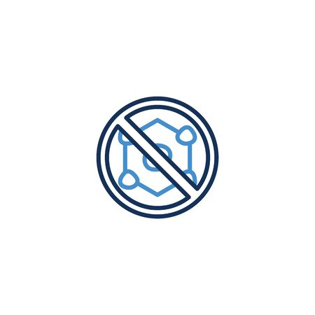 Icon forbidden virus thin line blue color ,Corona Virus. 2019-nCoV. Corona Virus, Global Spread, and Concept of Icon of Stopping Corona Virus ,vector illustrator Ilustracja