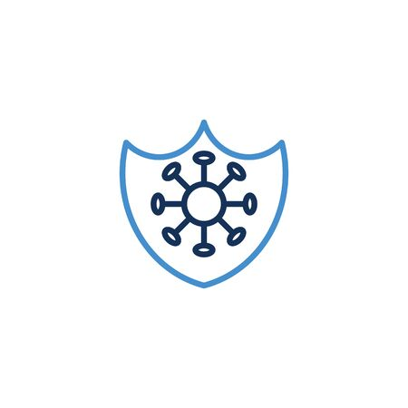 Icon Shield thin line blue color icon quarantine. Shield symbol vector sign. Corona virus , vector illustrator graphic design on white background