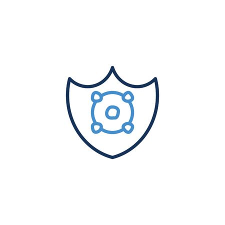 Icon Shield thin line blue color icon quarantine. Shield symbol vector sign. Corona virus , vector illustrator graphic design on white background Zdjęcie Seryjne - 144386367
