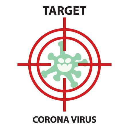 Icon flat Coronavirus Bacteria Cell Icon, novel coronavirus Bacteria. concept of attention to the outbreak of coronavirus disease in the form of a coronavirus cell icon in the target