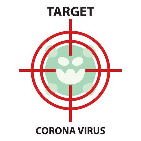 Icon flat Coronavirus Bacteria Cell Icon, novel coronavirus Bacteria. concept of attention to the outbreak of coronavirus disease in the form of a coronavirus cell icon in the target Zdjęcie Seryjne - 144386437