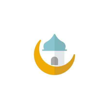flat icon mosque icon with modern design, isolated on white background. Concept for ramadan muslim prayer , flat style for graphic design template. suitable for logos, web, vector illustration