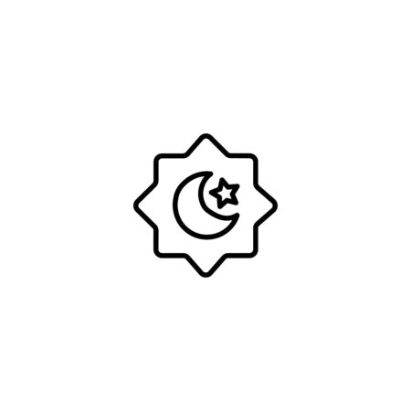 Thin Line Icon Stars and moon islamic design with continuous single line art drawing.suitable for ramadan on white background
