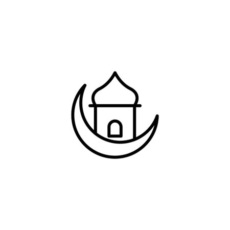 Thin line mosque icon with modern design, isolated on white background. Concept for ramadan muslim prayer , flat style for graphic design template. suitable for logos, web, vector illustration