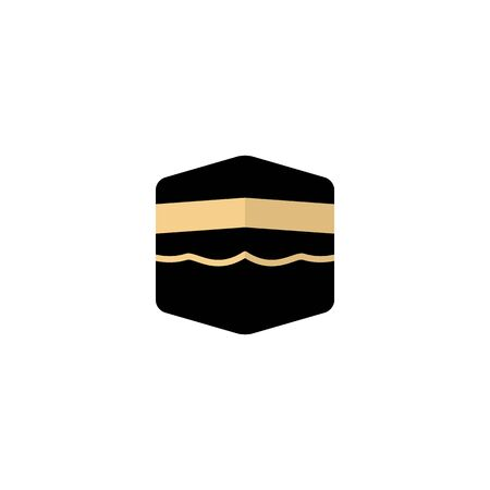 flat icon Kaaba in Mecca Saudi Arabia geometric pattern icon for greeting background of Hajj, vector illustration , suitable for muslim prayer