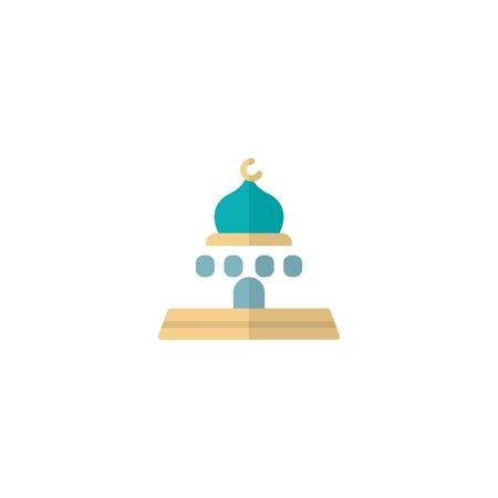 icon flat mosque icon with modern design, isolated on white background. Concept for ramadan muslim prayer , flat style for graphic design template. suitable for logos, web, vector illustration