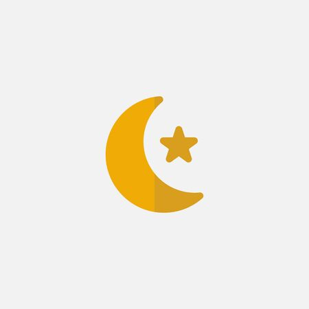 Flat icon Stars and moon islamic design with continuous single line art drawing.suitable for ramadan on white background Zdjęcie Seryjne - 144386452