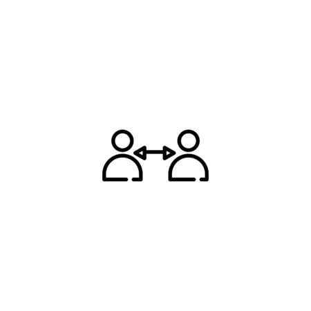 Thin line Icon Social Distancing and Self Quarantine, Suitable for use on web apps, mobile apps, Vector illustration editable stroke . 64 x 64 pixel perfect on White Background