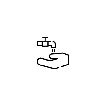 Thin line Icon washing hands vector icon, Suitable for use on web apps, mobile apps, Vector illustration editable stroke . 64 x 64 pixel perfect on White Background Ilustracja