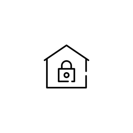 Thin line Icon Stay Home icon. Staying at home during a pandemic Suitable for use on web apps, mobile apps, Vector illustration editable stroke . 64 x 64 pixel perfect on White Background
