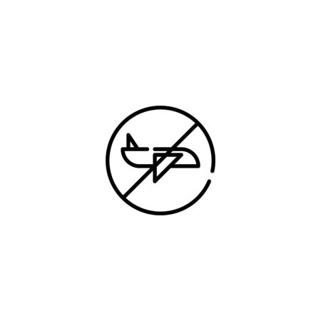 Thin line Icon. Stop aviation. Prohibiting Sign Planes Do Not Fly, Suitable for use on web apps, mobile apps, Vector illustration editable stroke . 64 x 64 pixel perfect on White Background Zdjęcie Seryjne - 144026966