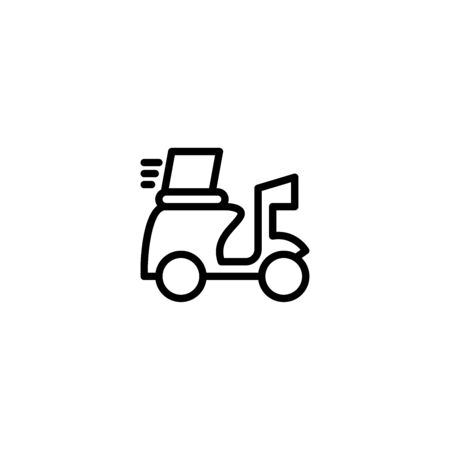 Thin line icon Shipping fast delivery motorcycle icon symbol, Pictogram flat outline design for apps , Isolated on white background, Vector illustration, editable stroke, 48x48 pixel perfect Zdjęcie Seryjne - 144027020