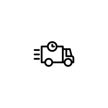 Thin line icon Truck . Delivery Truck symbol vector sign isolated on white background. Simple logo vector illustration for graphic and web design, editable stroke . 48x48 pixel perfect Vettoriali