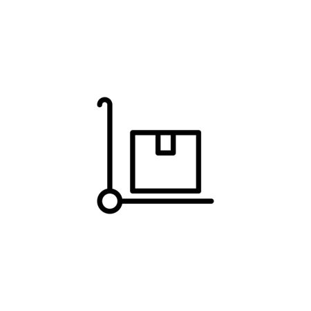 Thin line icon handcart vector design, Pictogram flat outline design for apps , Isolated on white background, Vector illustration, editable stroke, 48x48 pixel perfect