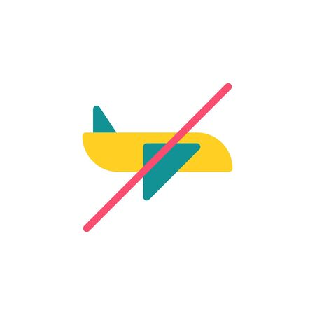 Thin line Icon. Stop aviation. Prohibiting Sign Planes Do Not Fly, Suitable for use on web apps, mobile apps, Vector illustration editable stroke . 64 x 64 pixel perfect on White Background Zdjęcie Seryjne - 144027272
