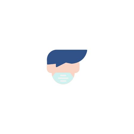 Thin line Icon Man face with mask icon, Suitable for use on web apps, mobile apps, Vector illustration editable stroke . 64 x 64 pixel perfect on White Background Zdjęcie Seryjne - 144027282