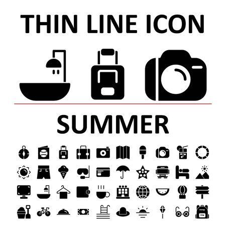 Vector illustration of glyph icon set summer , suitable for website, mobile apps, business, travel, holiday and more.With editable stroke 48x48 pixel perfect on white background