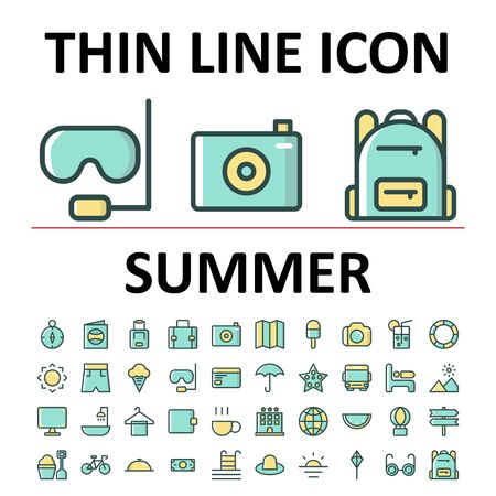 Vector illustration of filled line icon set summer , suitable for website, mobile apps, business, travel, holiday and more.With editable stroke 48x48 pixel perfect on white background Illusztráció