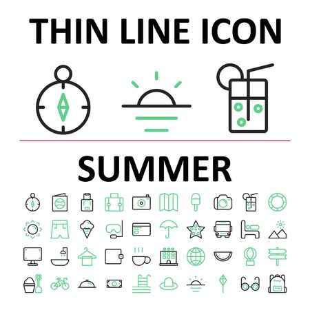 Vector illustration of thin linear icon set summer , suitable for website, mobile apps, business, travel, holiday and more.With editable stroke 48x48 pixel perfect on white background Illusztráció