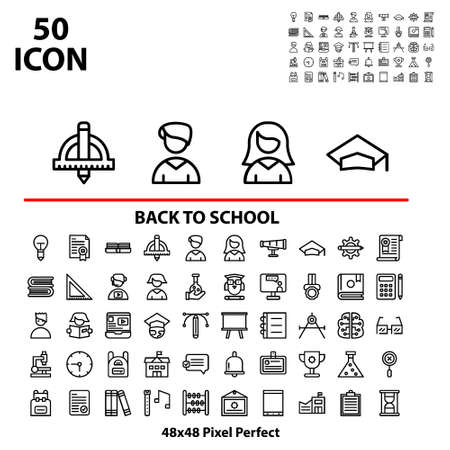 Thin linear icon set back to school suitable for mobile, apps store, website, and more.With editable stroke 48x48 pixel perfect on white background