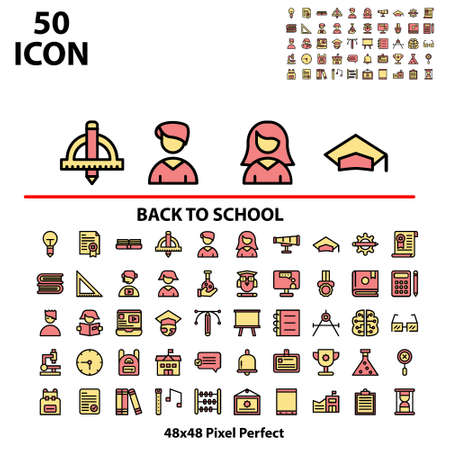 Thin linear icon set filled line back to school suitable for mobile, apps store, website, and more.With editable stroke 48x48 pixel perfect on white background