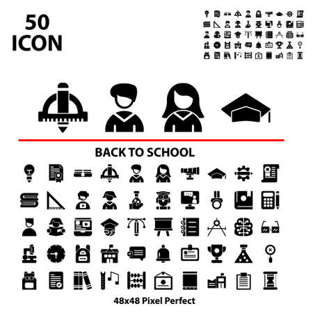 Solid icon set back to school suitable for mobile, apps store, website, and more.With editable stroke 48x48 pixel perfect on white background Illusztráció
