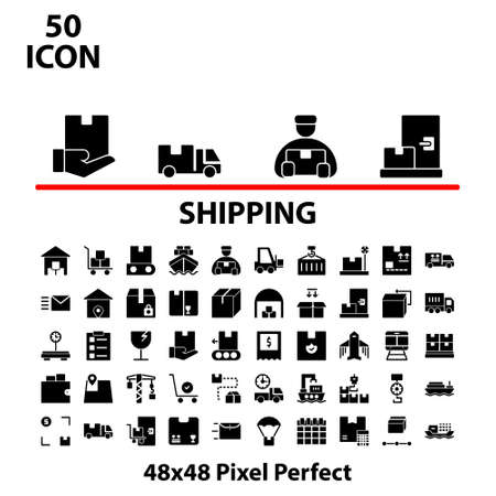 Solid icon set shipping vector illustration graphic design suitable for website, mobile, apps store, business, marketing, delivery, and more. With editable stroke 48x48 pixel perfect. Illusztráció