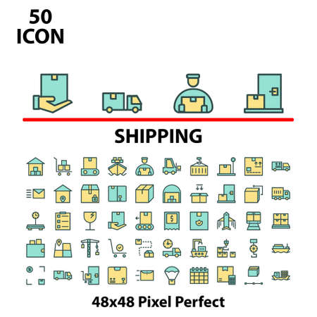 Thin icon filled line shipping vector illustration graphic design suitable for website, mobile, apps store, business, marketing, delivery, and more. With editable stroke 48x48 pixel perfect. Illusztráció