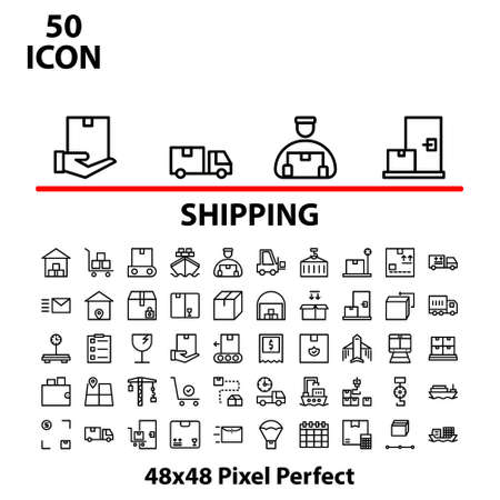 Thin line icon set shipping vector illustration graphic design suitable for website, mobile, apps store, business, marketing, delivery, and more. With editable stroke 48x48 pixel perfect.