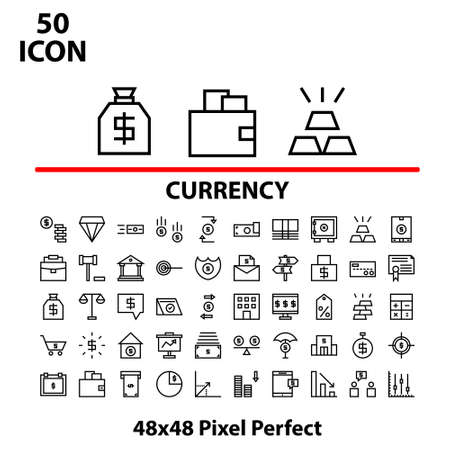 Thin linear icon set currency vector illustrator graphic design suitable for website, mobile, apps store, and more.With editable stroke 48x48 pixel perfect.