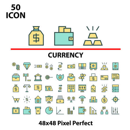 Thin linear icon set filled line currency vector illustrator graphic design suitable for website, mobile, apps store, and more.With editable stroke 48x48 pixel perfect.