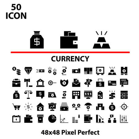 Solid icon set currency vector illustrator graphic design suitable for website, mobile, apps store, and more.With editable stroke 48x48 pixel perfect.